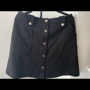 Black Ponte button skirt